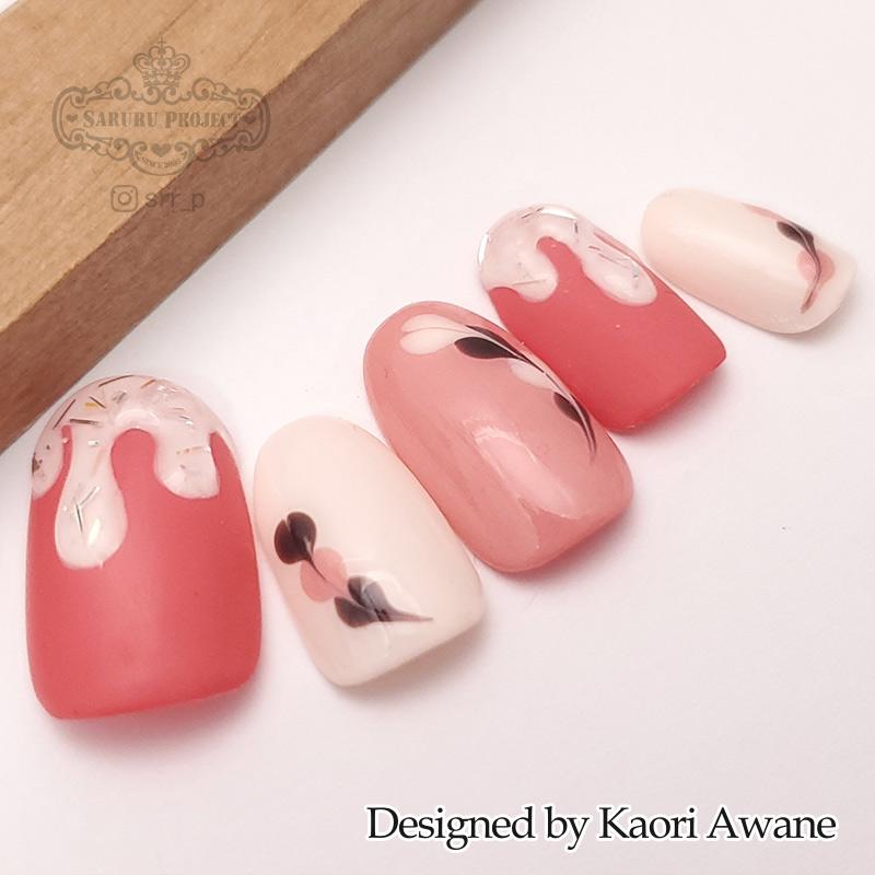 とろりんバレンタインネイル ピンク