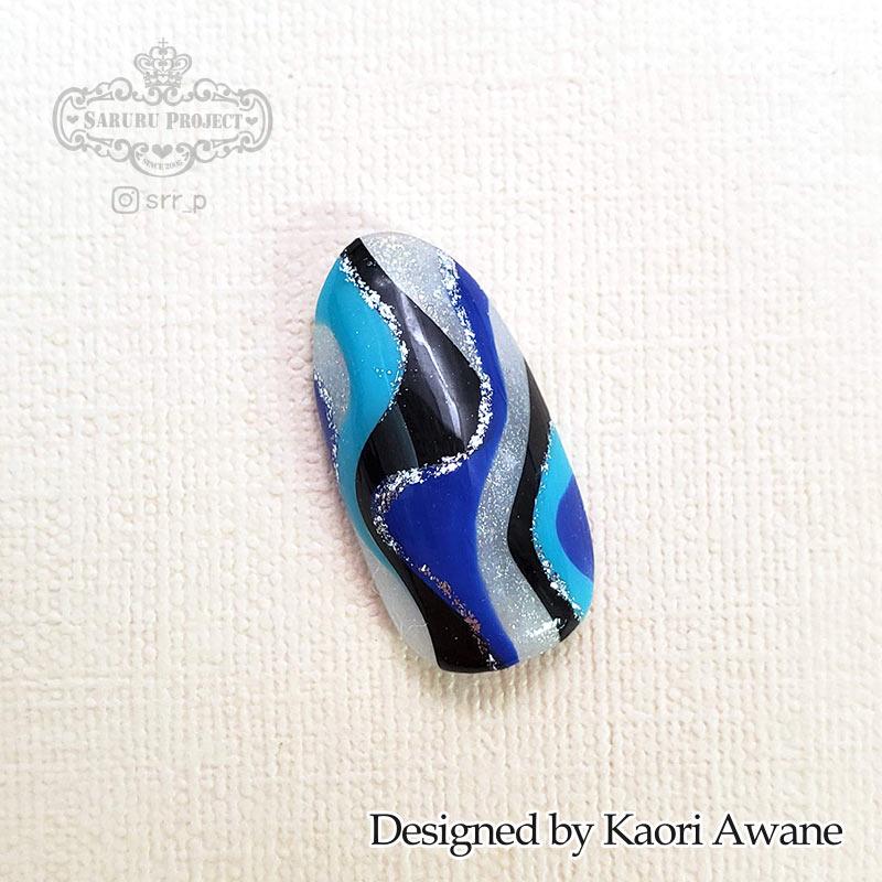 マーブル模様風ネイル ブルー